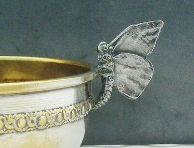 FRENCH ART NOUVEAU SILVER PLATED BOWL BUTTERFLY HANDLES c1890/1900