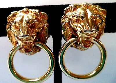 "Stunning Vintage Estate Lion Door Knocker Gold Tone 1 1/2"" Clip Earrings!! 8612C"