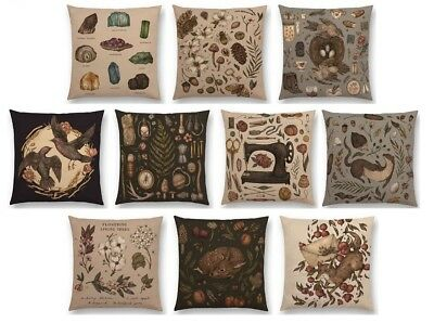 "Vintage Design Animal Gems Minerals Floral Nature Plant Cushion Covers 17"" x 17"""