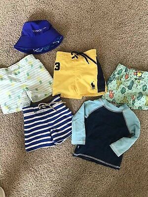 Baby boy swim trunks Lot Excellent Condition Ralph Lauren, cat & Jack, Honest Co