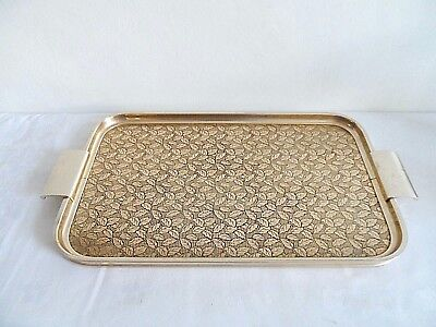 Retro  Woodmet   Gold Tone Engraved      Metal Tray