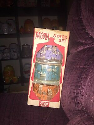 Bartlett-Collins Tropic Pagoda Stack Set Glass Stacking Candy Jar