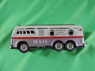 Vintage Mobile Post Office Mail Bus Tin Litho Friction Japan Very Rare L@@k