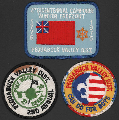 3 Different Vintage Pequabuck Valley District BSA Boy Scouts of America Patches
