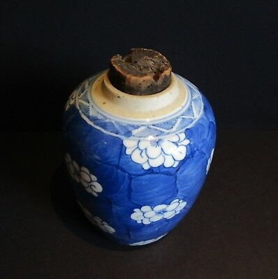 Antique Old Chinese Blue & White Prunus Jar-Kangxi Mark-No lid