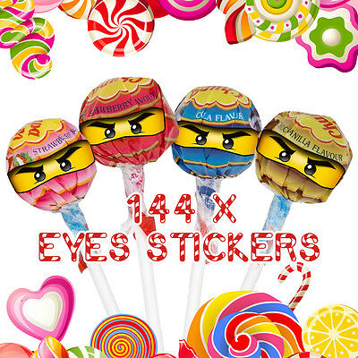 144 x Lego Ninjago Eyes Stickers for Lollipops Birthday Party Celebration Label