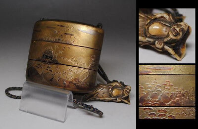 2 Case Antique Japanese Inro with Ojime and Netsuke