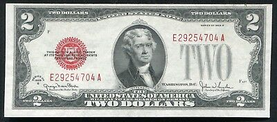 1928G $2 Two Dollars Red Seal Legal Tender United States Note About Unc