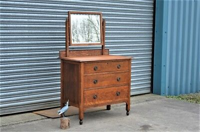 Antique Rustic Oak Chest of Drawers with Mirror.