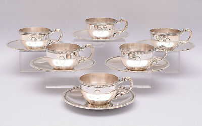 ANTIQUE SET OF 6 PCS SOLID SILVER COFFEE CUPS & SAUCER. 483 grams / 17 ounce
