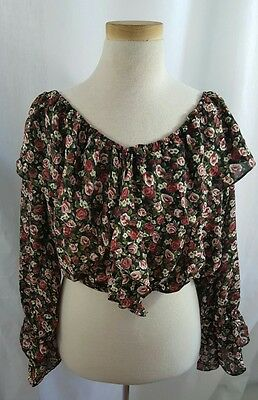 Womens Vintage 90's New Star Floral Crop Long Sleeved Blouse Size Medium
