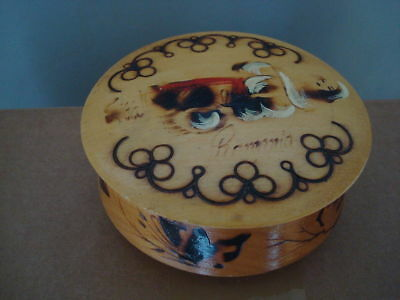 Wooden Lidded Pot Hand Decorated Souvenir From Roumania