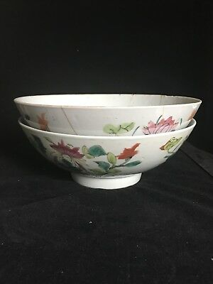 Two Large CHINESE ANTIQUE  Families Rose PORCELAIN  RIce BOWLS 19th Century