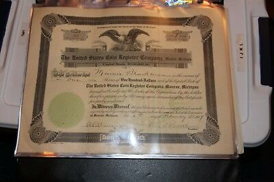 The United States Coin Register Company MI  STOCK CERTIFICATE 1909 RARE!