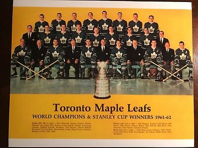 Toronto Maple Leafs Stanley Cup Champions Team Picture 1961-62 8x10