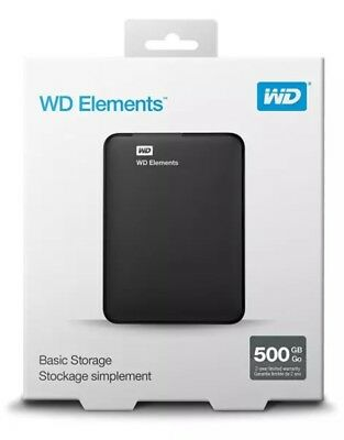 500GB WD Elements Portable Hard Drive  Portable External HDD storage New UK