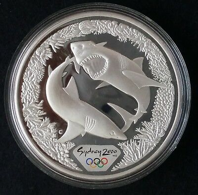 2000 Australia Sydney Olympic Collection ( 99.9% ) $5 Coin Great White Shark
