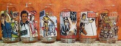 Lot of 6 Collector Glasses from Burger King (3 Empire Strikes Back, 3 ROTJ)