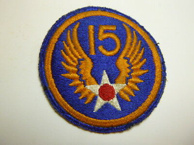 A   WW 2 U S Army 15th  Air Force O D Backing Cut Edge Snow Back Patch