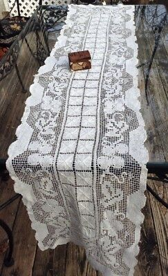 Antique Vintage Hand Made Italian MONDANO Filet Lace Ex Long Runner