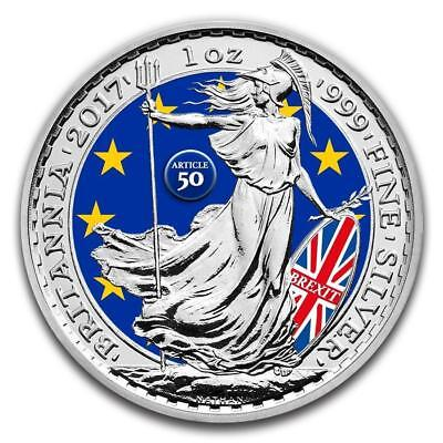 2017 1 oz .999 fine silver Colorized UK Brexit Britannia Coin