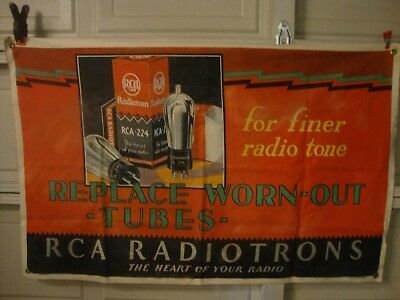 Antique 1930s RCA VICTOR RADIO TUBE Cloth advertising banner MUST SEE!