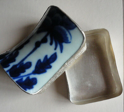 Vintage Trinket Box - Blue & White Asian Porcelain with Metal Case - Curved Top