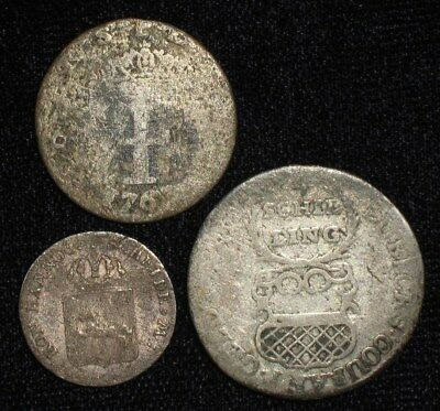 3 Silver Coins from the German States.  1720's-1842.  No Reserve!