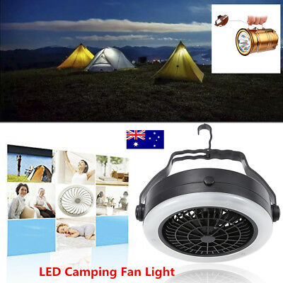 3 in 1 Rechargeable USB LED Fan Light Tent Lamp for Camping Hiking With  Hook