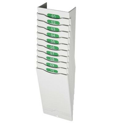 10 Pockets Retractable Time Cards Rack Wall Mount Holder for Attendance Recorder