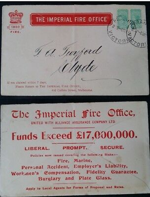 Rare 1911 Victoria Australia The Imperial Fire Office Full Advert Cover to Clyde