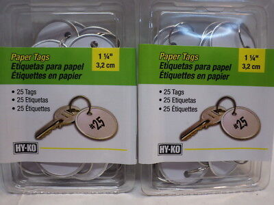 2 - HY-KO PROD Office Storage Accessory 1-1/4 White Paper Tag Ring KC144 - 25 pk