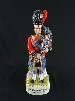 Vintage WHITE HEATHERBlended Scotch Whisky Figural Decanter Bagpiper c1970s