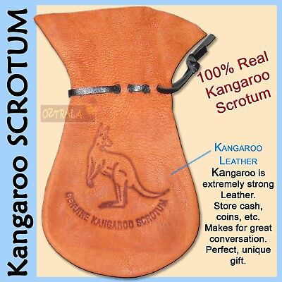 ●oZtrALa●XL Kangaroo SCROTUM Pouch Jumbo Genuine Aussie Leather Coin Purse Gift●