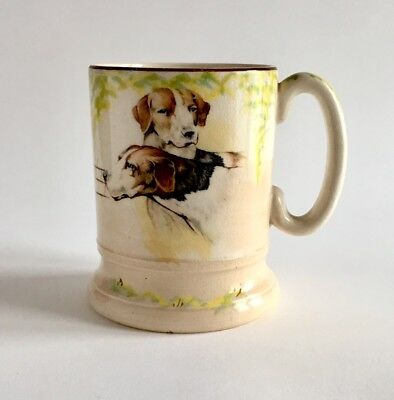 Antique Mug With 0Pen Rural Scenes And Two Handsome Dogs. Arthur Wood Pottery.