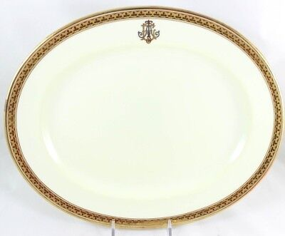 """Antique 13"""" Oval Platter Royal Cauldon China H3765 Raised Gold Encrusted Clovers"""