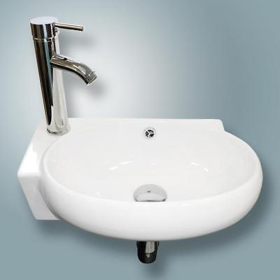 NEW Bathroom Ceramic Wall Mount Vessel Sink&Chrome Faucet Combo White Porcelain