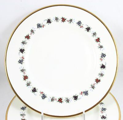 Lot 3 Vintage Minton China Mirabeau S747 Salad Plates Cream Enamel Floral Gold