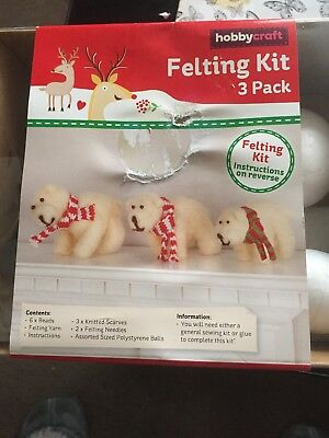 Hobby Craft Felting Kit Of 3 Polar Bears