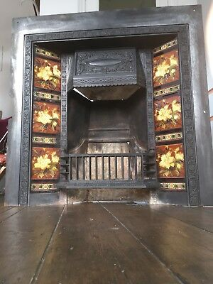 Beautiful Reclaimed Cast Iron Fireplace Insert With Tiles Side Panels