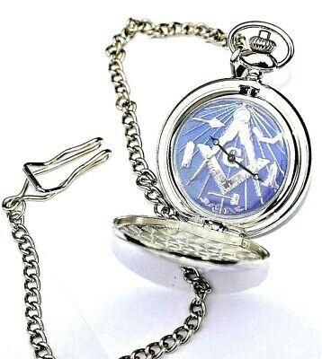 Masonic Pocket Watch Gift Personalised With / Without Engraving In Gold / Silver