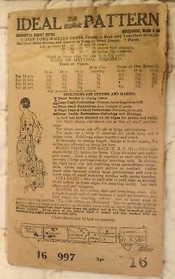 "1919 Ideal  Pattern For Long Waisted Day Dress Bust 33"" Unprinted Complete Nr"