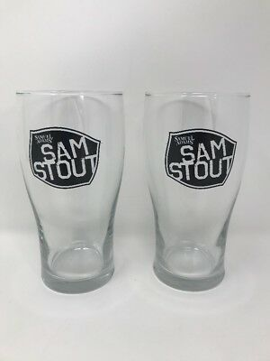 Set Of 2 Samuel Adams Sam Stout Beer 16oz. Pint Glasses, New, Bar Ware, Man-Cave