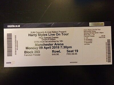 Harry Styles Ticket Manchester Arena 9th April 2018