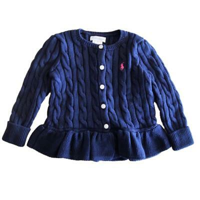 NWT Ralph Lauren Polo Pony baby girls  cotton cardigan cable Navy 12 mths
