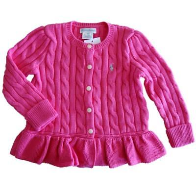 NWT Ralph Lauren Polo Pony baby girls  cotton cardigan cable pink 9,12,18mths
