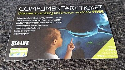 SEA LIFE COMPLIMENTARY FAMILY TICKET. 2x adult & 2x children. No expiry date.