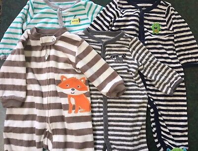Lot Of Boy's Size 6 Month Carter's One-Piece Pajamas Monsters Raccoons Submarine