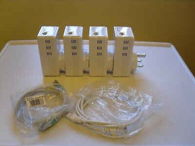 Simpler-Networks 200Mbps Plc mini pass through power Adapters set of 4