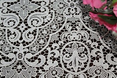 """Vtg Antique WHITE Schiffli Guipure Lace Extra Long Table Runner Scarf 67"""""""